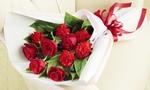 母の日 花キューピット 赤バラとカーネーションの花束